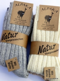 Wollsocke mit Alpaka dick 2er Set