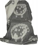Wolldecke mit Lockenschaf grau
